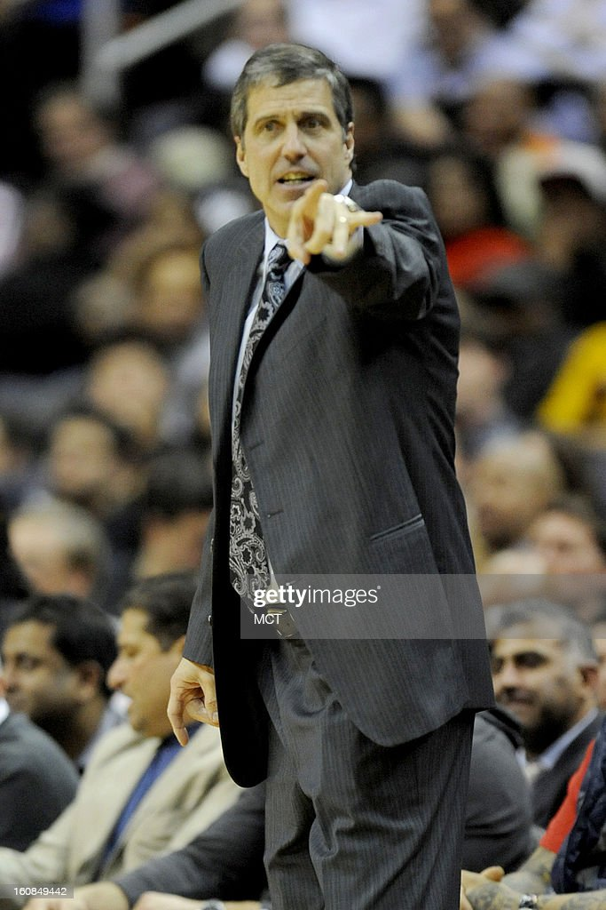 Washington Wizards head coach Randy Wittman signals to his players during second-half action of an NBA game against the New York Knicks at the Verizon Center in Washington, D.C., Wednesday, February 6, 2013. The Wizards won, 106-96.