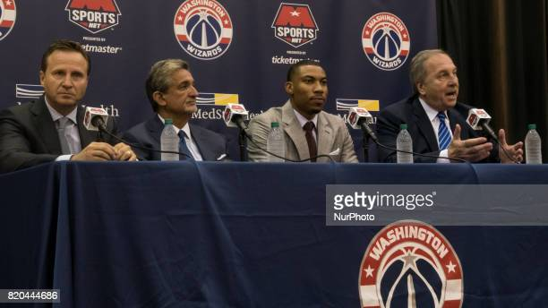 Washington Wizards head coach Scott Brooks owner Ted Leonsis player Otto Porter and President Ernie Grunfeld participated in a press conference to...