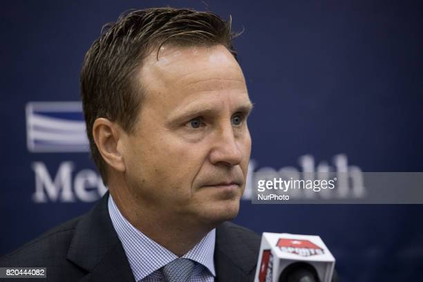 Washington Wizards head coach Scott Brooks participated in a press conference to celebrate Otto Porter's new contract extension at the Verizon Center...