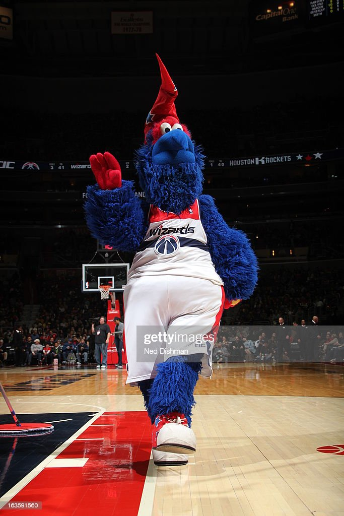 Washington Wizards mascot gets the crowd excited against the Houston Rockets during the game at the Verizon Center on February 23, 2013 in Washington, DC.
