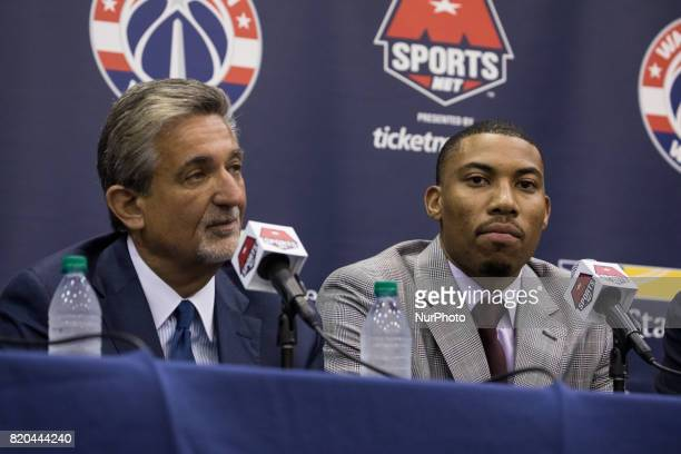 Washington Wizards owner Ted Leonsis and player Otto Porter participated in a press conference to celebrate Otto Porter's new contract extension at...