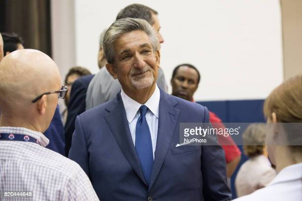 Washington Wizards owner Ted Leonsis talks to reporters after his press conference to celebrate Otto Porter's new contract extension at the Verizon...