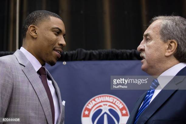 Washington Wizards player Otto Porter and President Ernie Grunfeld participated in a press conference to celebrate Otto Porter's new contract...
