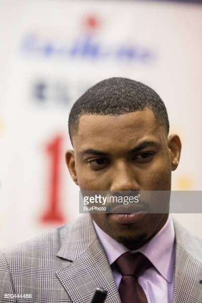 Washington Wizards player Otto Porter participated in a press conference to celebrate his new contract extension at the Verizon Center in Washington...