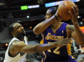 Washington Wizards point guard Gilbert Arenas defends against Laker Shannon Brown during the game at the Verizon Center on Tuesday December 14 2010...