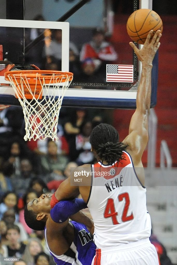 Washington Wizards power forward Nene Hilario takes a shot against Sacramento Kings power forward Jason Thompson during the first half at the Verizon...