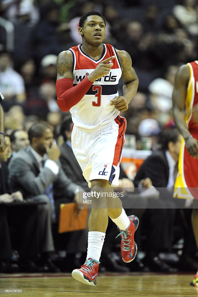Washington Wizards shooting guard Bradley Beal (3) celebrates a basket during second-half action against the Houston Rockets at the Verizon Center in Washington, D.C., Saturday, February 23, 2013. The Wizards defeated the Rockets, 105-103.