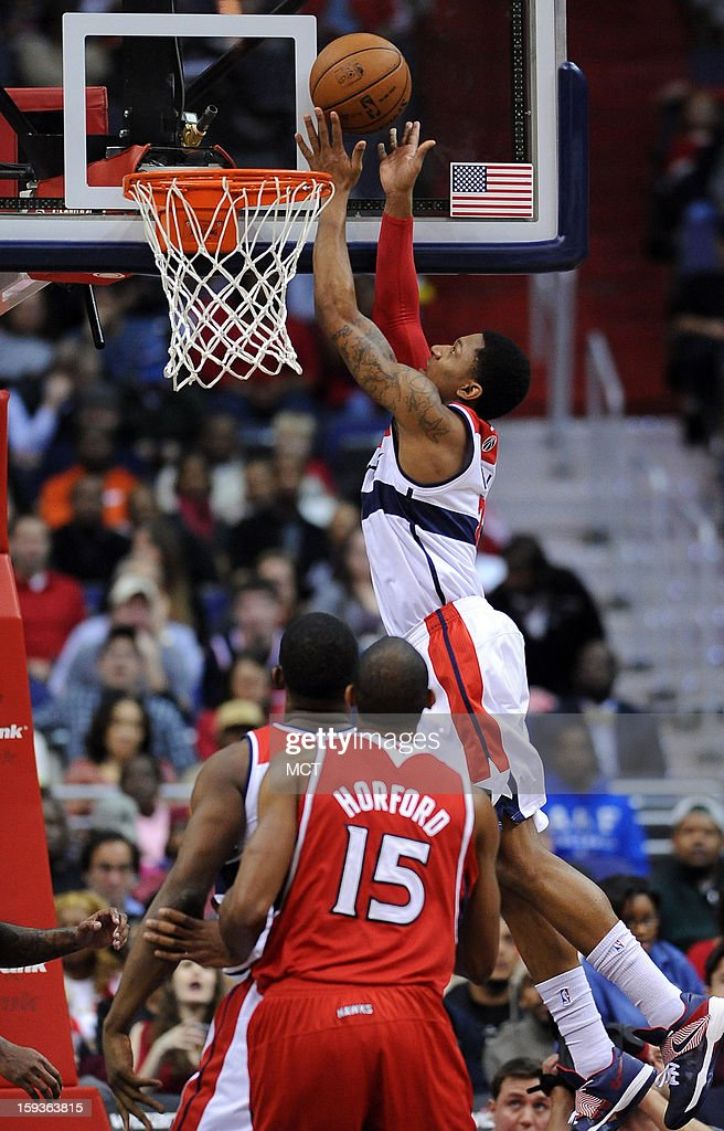 Washington Wizards shooting guard Bradley Beal (3) scores against the Atlanta Hawks in the first quarter at the Verizon Center in Washington, D.C., Saturday, January 12, 2013.
