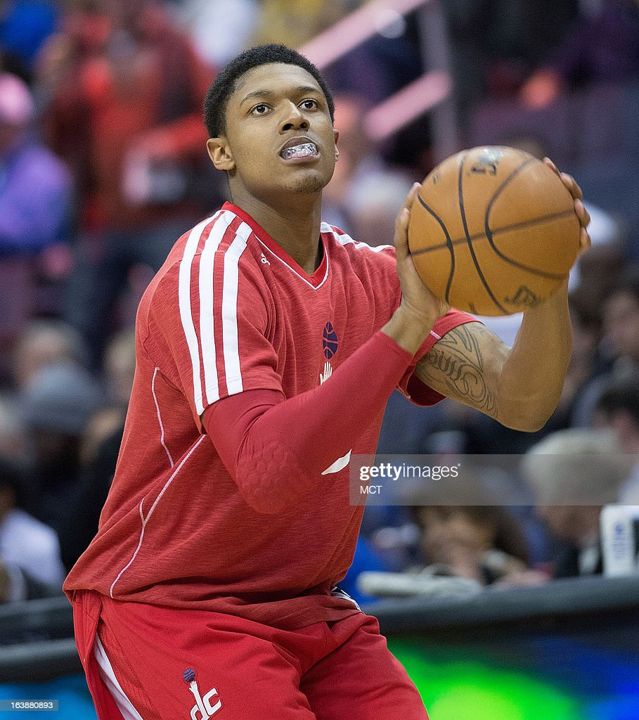 Washington Wizards shooting guard Bradley Beal (3) warms up prior to the start of the second half of their game against the Phoenix Suns played at the Verizon Center in Washington, D.C., Saturday, March 16, 2013.