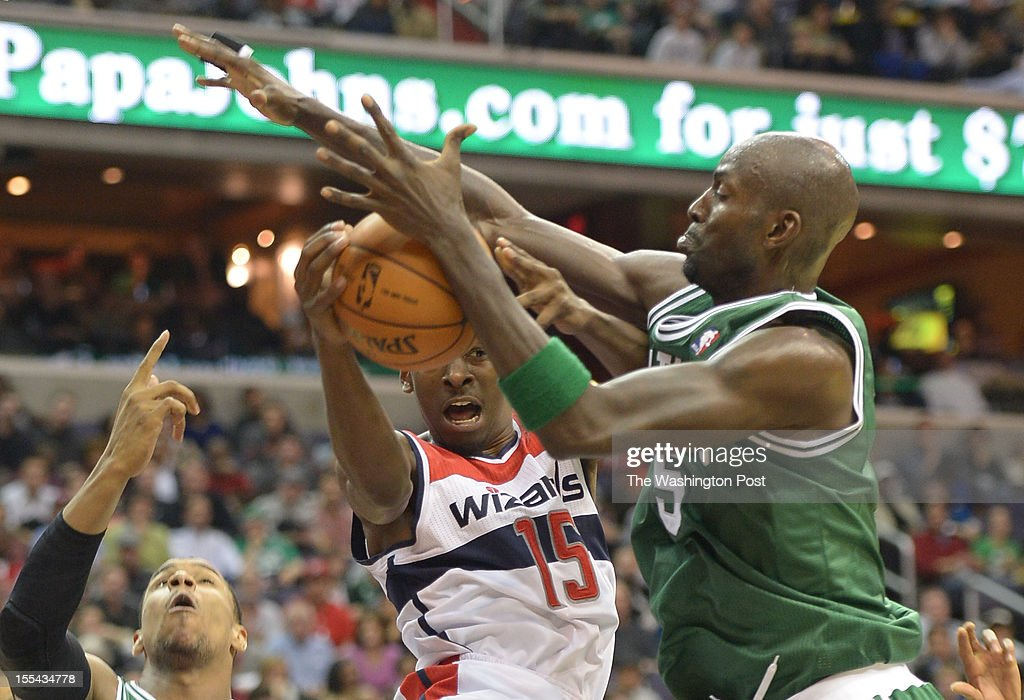 Washington Wizards shooting guard Jordan Crawford (15) loses control of the ball against Boston Celtics power forward Kevin Garnett (5) during 1st half action on Nov. 3, 2012 in Washington, DC