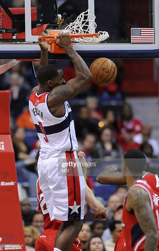 Washington Wizards small forward Martell Webster (9) dunks against the Atlanta Hawks in the first quarter at the Verizon Center in Washington, D.C., Saturday, January 12, 2013.