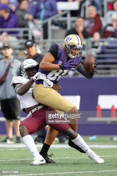 Washington's Brandon Lenius hauls in a Jake Browning pass as Montana's Lewis Cowans wraps him up during a college football game between the...