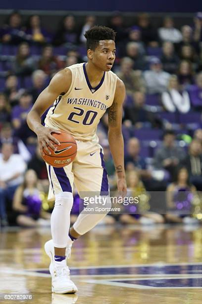 Washington's Markelle Fultz brings the ball down court against Washington State Washington State won 7974 over Washington at Alaska Airlines Arena in...