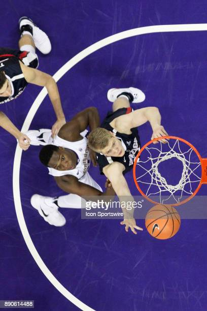 Washington's Noah Dickerson and Gonzaga's Jacob Larsen position themselves under the basket for a rebound Gonzaga won 9770 over Washington on...