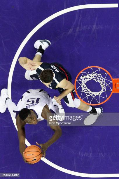 Washington's Noah Dickerson looks for an opening under the basket while being guarded by Gonzaga's Killian Tillie Gonzaga won 9770 over Washington on...