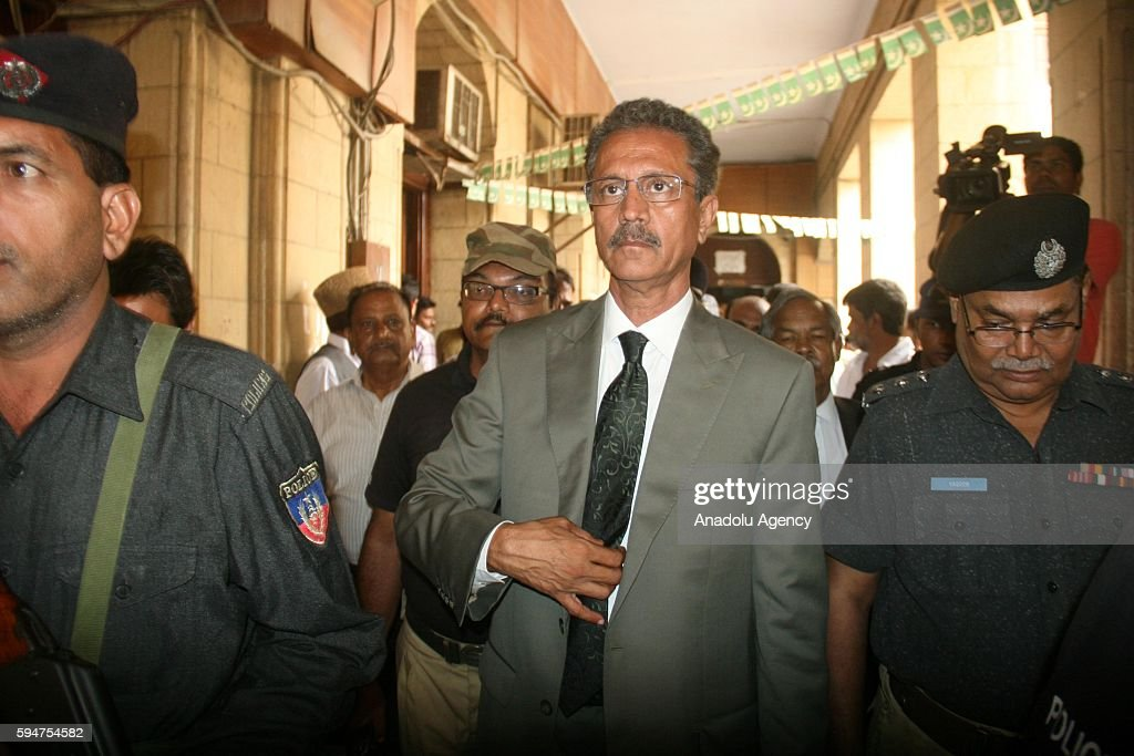 Wasim Akhtar mayoral candidate of MQM arrives at a polling station to cast his vote within mayoral election in Karachi Pakistan on August 24 2016