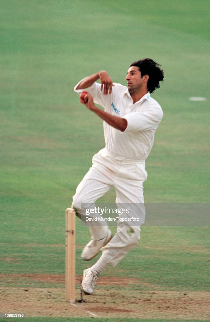 Wasim Akram bowling for Lancashire during the Benson Hedges Cup Final between Lancashire and Kent at Lord's cricket ground in London 15th July 1995...