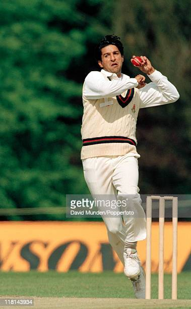 Wasim Akram bowling for Lancashire in the preliminary round of the Benson and Hedges Cup against the Combined Universities at The Parks Oxford on the...