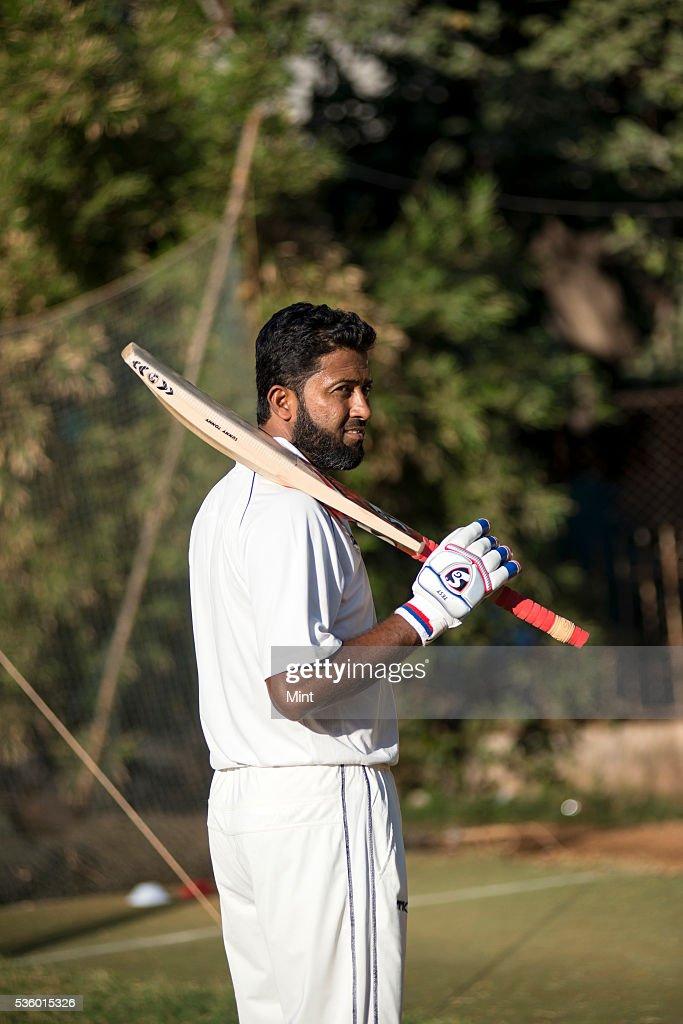 Wasim Jaffer practising at Khar Gymkhana on December 21, 2015 in Mumbai, India.