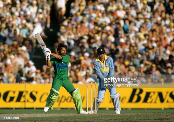Wasim Raja batting for Pakistan during the Benson and Hedges World Championship of Cricket Final between India and Pakistan at the MCG Melbourne...