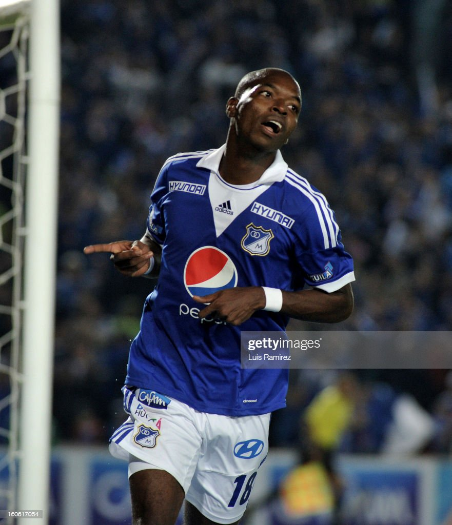 <a gi-track='captionPersonalityLinkClicked' href=/galleries/search?phrase=Wason+Renteria&family=editorial&specificpeople=666364 ng-click='$event.stopPropagation()'>Wason Renteria</a> of Millonarios celebrates a goal against Equidad during a match between Millonarios and Equidad as part of the Liga Postobon 2013 at Nemesio Camacho Stadium on February 03, 2013 in Bogota, Colombia.
