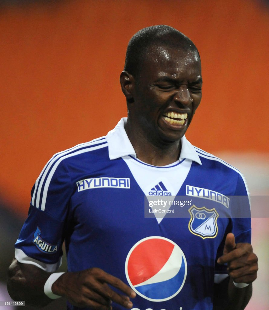 <a gi-track='captionPersonalityLinkClicked' href=/galleries/search?phrase=Wason+Renteria&family=editorial&specificpeople=666364 ng-click='$event.stopPropagation()'>Wason Renteria</a> of Millonarios reacts during a match between Millonarios and Medellin as part of the Liga Postobon 2013 at Atanasio Girardot Stadium on February 10, 2013 in Medellin, Colombia.