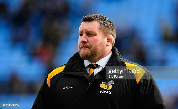 Wasp head coach Dai Young looks on before the European Rugby Champions Cup match between Wasps and Leinster Rugby at The Ricoh Arena on January 24...