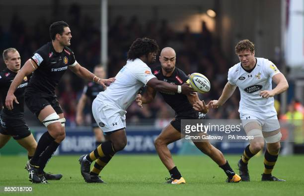 Wasps Ashley Johnson and Exeter's Olly Woodburn during the Aviva Premiership match at Sandy Park Exeter