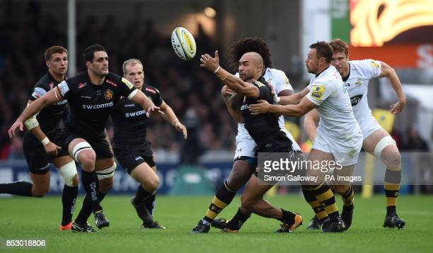 Wasps' Ashley Johnson and Exeter's Olly Woodburn during the Aviva Premiership match at Sandy Park Exeter