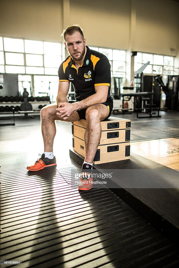 Wasps Back Row James Haskell poses for a portrait during a Wasps media session on January 20, 2015 in Acton, England.