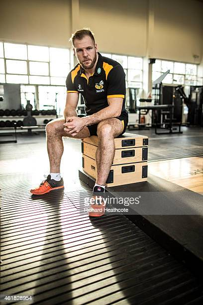 Wasps Back Row James Haskell poses for a portrait during a Wasps media session on January 20 2015 in Acton England