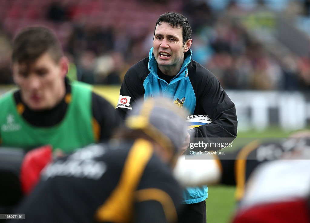 Wasps backs coach Stephen Jones during the Aviva Premiership match between Harlequins and London Wasps at Twickenham Stoop on Febuary 09, 2014 in London, England.
