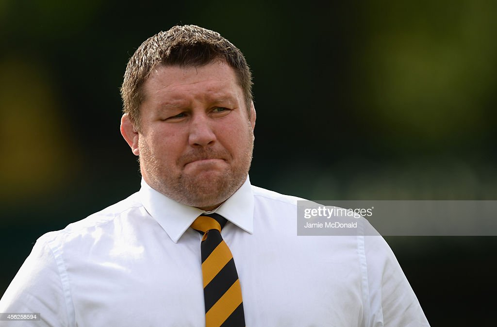 Wasps director of rugby Dai Young looks on during the Aviva Premiership match between Wasps and Newcastle at Adams Park on September 28 2014 in High...