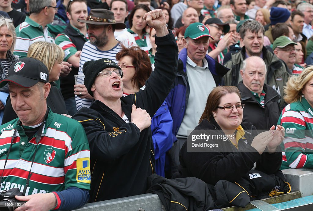 Wasps fans shout encouragement during the Aviva Premiership match between Leicester Tigers and London Wasps at Welford Road on April 14, 2013 in Leicester, England.