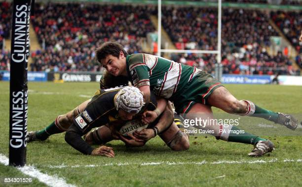 Wasps James Hskell is help up short of the line by Harry Ellis of Leicester during the Guinness Premiership match at Welford Road Leicester