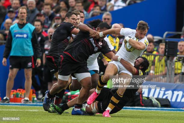 Wasps' Josh Bassett breaks during the Aviva Premiership match between Saracens and Wasps at Allianz Park on October 8 2017 in Barnet England