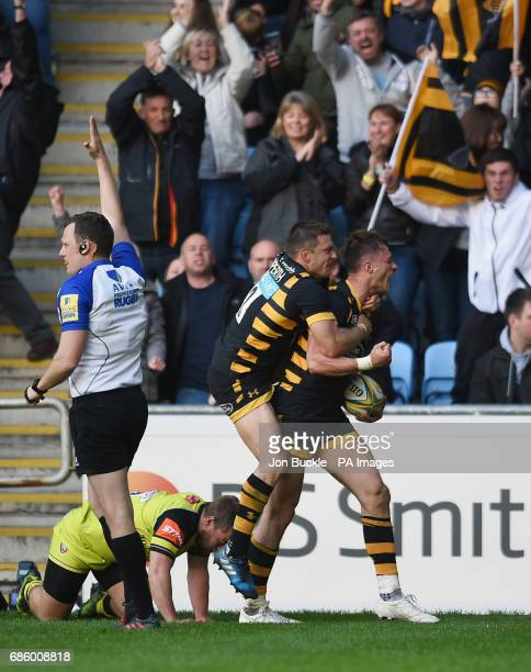 Wasps' Josh Bassett celebrates scoring a last minute winning try during the Aviva Premiership Semi final match at The Ricoh Arena Coventry