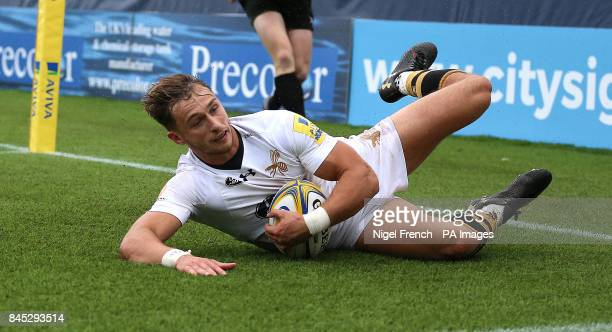 Wasps' Josh Bassett scores his sides third try of the game against Worcester Warriors during the Aviva Premiership match at the Sixways Stadium...