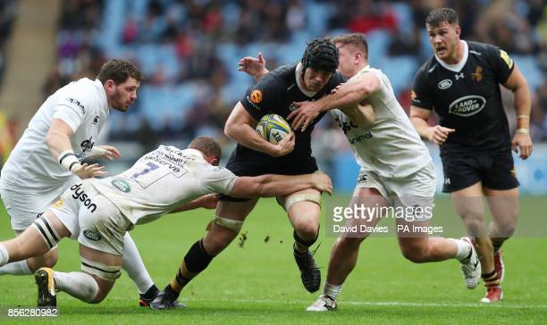 Wasps Will Rowlands is tackled by Bath's Sam Underhill during the Aviva Premiership match at the Ricoh Arena Coventry