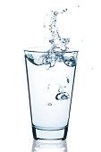 Wasserglas mit spritzendem Wasser und Tropfen isoliert auf weißem Hintergrund