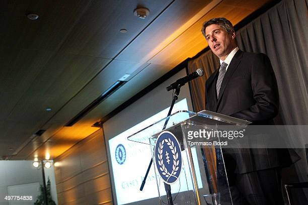 CEO Wasserman Media Group Casey Wasserman speaks on stage during the National Football Foundation Leadership Hall Of Fame Luncheon honoring Casey...