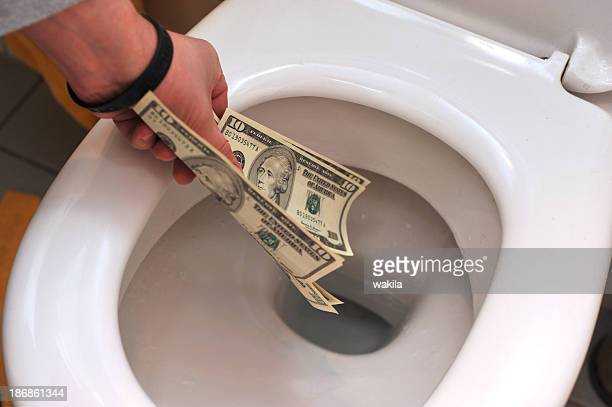 waste money dollars in toilet