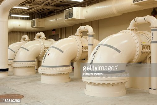 Waste Water Treatment Plant Pipes in Screening Room