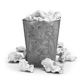 Wastepaper basket with paper waste. 3d image. White background.