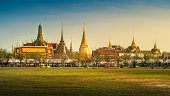 Wat Phra Kaew and The Grand Palace in Sunset