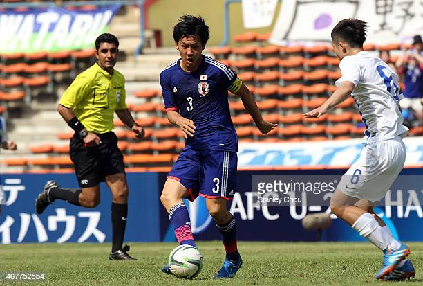 Wataru Endo of Japan in action against Macau during the AFC U23 Championship Qualifier Group I match between Japan and Macau at Shah Alam Stadium on...