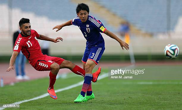 Wataru Endo of Japan in action during the 2018 FIFA World Cup Russia qualifier match between Afghanistan and Japan at Azadi Stadium on September 8...