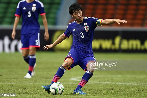 Wataru Endo of Japan shoots during the AFC U23 Championship qualifier Group I match between Vietnam and Japan at Shah Alam Stadium on March 29 2015...