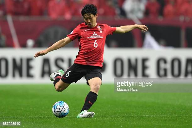Wataru Endo of Urawa Red Diamonds in action during the AFC Champions League Group F match between Urawa Red Diamonds and Shanghai SIPG FC at Saitama...