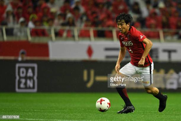 Wataru Endo of Urawa Red Diamonds in action during the JLeague J1 match between Urawa Red Diamonds and Jubilo Iwata at Saitama Stadium on June 18...